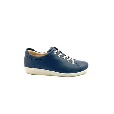 ATRAI WOMENS COMFORT TIE SHOE - NAVY LEATHER