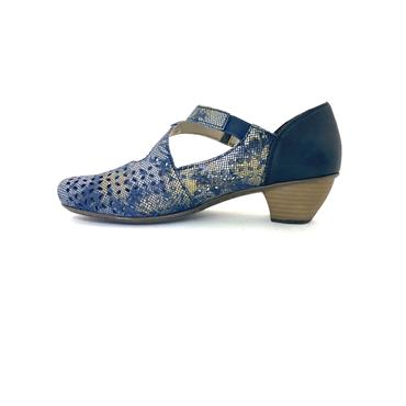 RIEKER WOMENS VELCRO STRAP LOW HEEL SHOE - BLUE MULTI