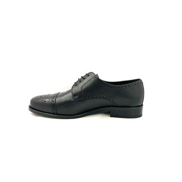 UMBER MENS WIDE FITTING LEATHER BROGUE - BLACK LEATHER