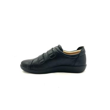 ATRAI WOMENS VELCRO COMFORT SHOE - BLACK LEATHER