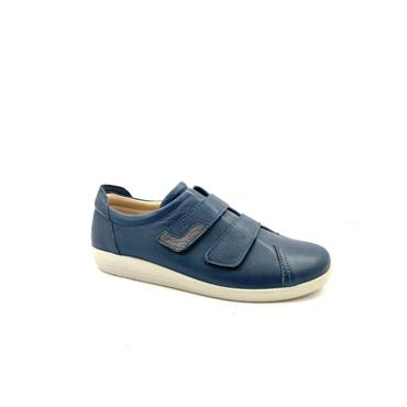 ATRAI WOMENS VELCRO COMFORT SHOE - NAVY LEATHER