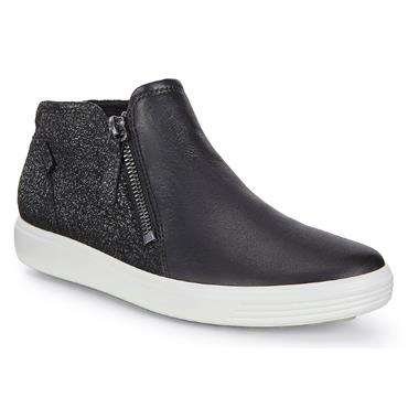 ECCO WOMENS SOFT ZIP ANKLE BOOT - BLACK