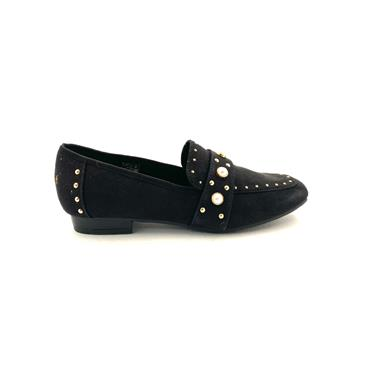 SPROX WOMENS PEARL STUD FLAT LOAFER - BLACK SUEDE