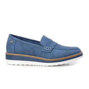 XTI WOMENS LOW WEDGE SLIP ON LOAFER - JEANS