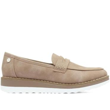 XTI WOMENS LOW WEDGE SLIP ON LOAFER - TAUPE