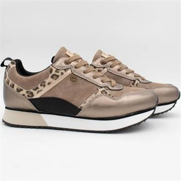 XTI WOMENS LACE TRAINER - BRONZE MULTI