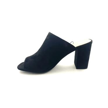 FABS LDS BLOCK HEEL MULE - BLACK SUEDE