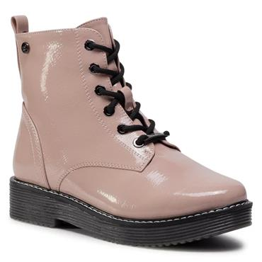 XTI WOMENS 6 EYE ZIP LACE ANKLE BOOT - NUDE