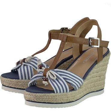 SPROX LDS WEDGE ROPE SOLE TSTRAP SDL - NAVY