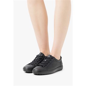 ECCO WOMENS SOFT LACE COMFORT SHOE - BLACK