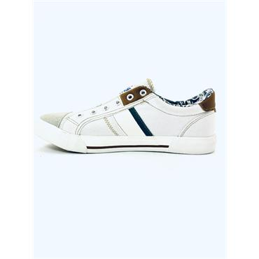XTI MENS LACE TRAINER - WHITE TAN