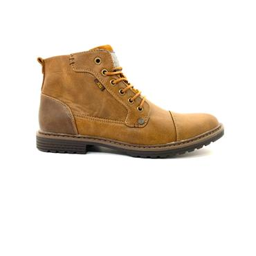 XTI MENS 6 EYE LACE TOE CAP ANKLE BOOT - CAMEL