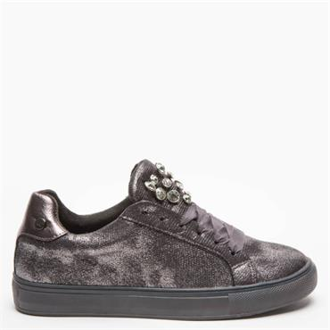 XTI WOMENS STONE TONGUE LACE TRAINER - GREY