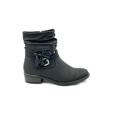SPROX WOMENS STRAP ZIP ANKLE BOOT - BLACK