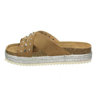 XTI WOMENS CHUNKY CROSS STUD STRAP MULE - CAMEL SUEDE