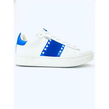 XTI WOMENS CHUNKY LACE TRAINER - WHITE BLUE