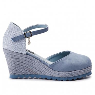 XTI WOMENS WEDGE CLOSED IN SANDAL - JEANS MULTI