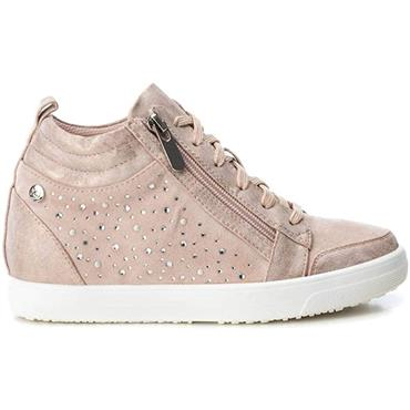 XTI WOMENS WEDGE ZIP LACE TRAINER - NUDE MULTI