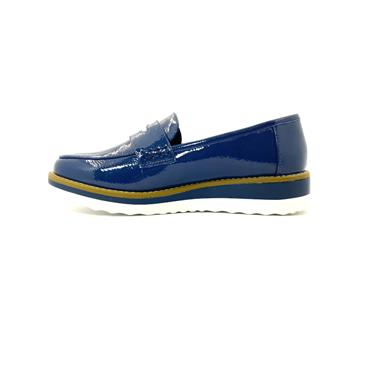 XTI LDS LOW WEDGE MOCCASSIN SLIP ON SHOE - NAVY PATENT