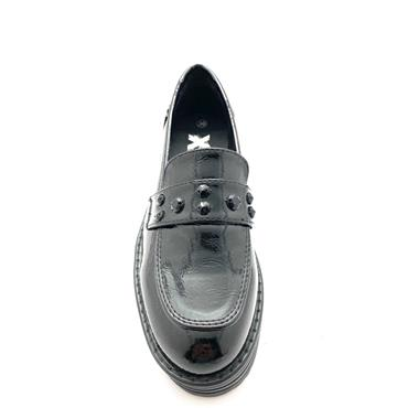 XTI WOMENS CHUNKY DIAMANTE LOAFER - BLACK PATENT