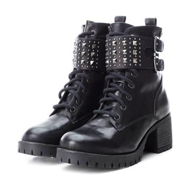 XTI WOMENS BUCKLE STRAP ZIP LACE BOOT - BLACK