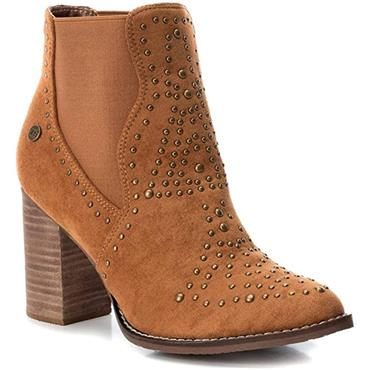 XTI WOMENS STUD GUSSET ANKLE BOOT - CAMEL