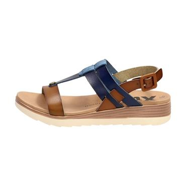 XTI WOMENS LOW WEDGE T STRAP SANDAL - NAVY