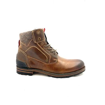 S OLIVER MENS 7 EYE LACE BOOT - BROWN