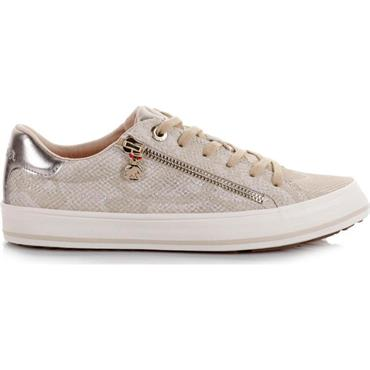 S OLIVER WOMENS CHUNKY ZIP LACE TRAINER - CHAMPAGNE