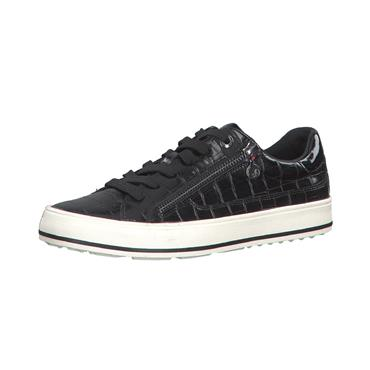 S OLIVER WOMENS ZIP LACE TRAINER - BLACK MULTI