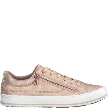 S OLIVER WOMENS ZIP LACE TRAINER - ROSE SNAKE