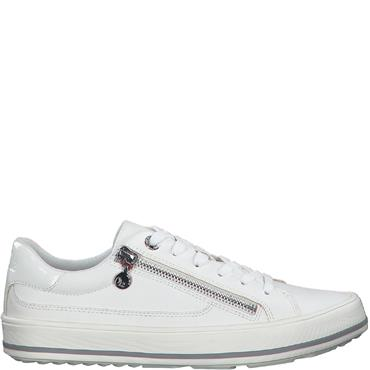 S OLIVER WOMENS ZIP LACE TRAINER - WHITE