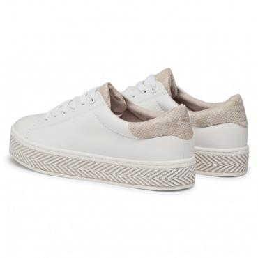 S OLIVER WOMENS LACE TRAINER - WHITE GOLD