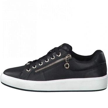S OLIVER WOMENS ZIP LACE TRAINER - BLACK