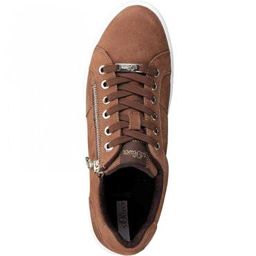 S OLIVER WOMENS ZIP LACE TRAINER - TAN
