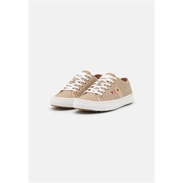 S OLIVER WOMENS SNAKE LACE TRAINER - TAUPE SNAKE