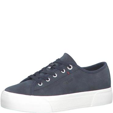 S OLIVER WOMENS LACE TRAINER - NAVY