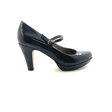 S OLIVER WOMENS BUCKLE STRAP COURT SHOE - NAVY PATENT