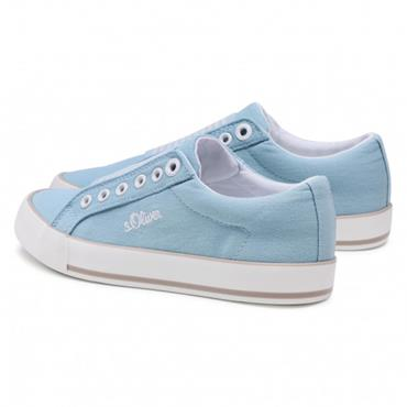 S OLIVER WOMENS CANVAS TRAINER - LIGHT BLUE