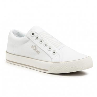 S OLIVER WOMENS CANVAS TRAINER - WHITE