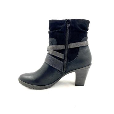 S OLIVER 3 STRAP ZIP ANKLE BOOT - BLACK
