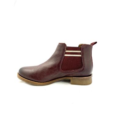 S OLIVER LDS LOW HEEL GUSSET ANKLE BOOT - BORDEAUX
