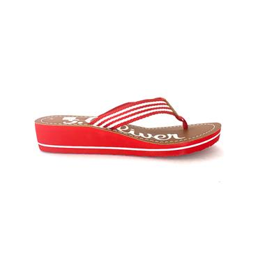 S OLIVER LOW WEDGE TOE POST MULE - RED WHITE