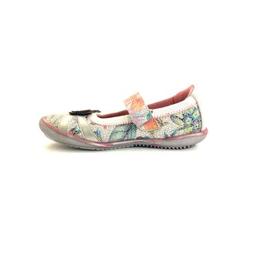 S OLIVER GIRLS BUTTERFLY STRAP SHOE - OFFWHITE MULTI