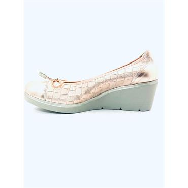 PITILLOS WOMENS WEDGE CROC BOW COURT - NUDE