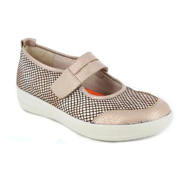 DR CUTILLAS LDS WEDGE VEL STRAP SHOE - TAUPE