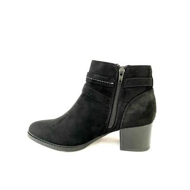 SPROX LDS BLOCK HEEL STRAP ZIP ANKLE BT - BLACK SUEDE