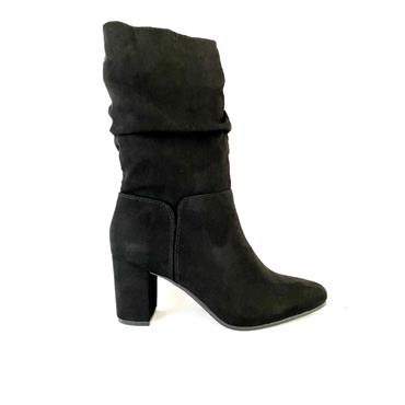 SPROX LDS TIE ZIP ANKLE BOOT - BLACK SUEDE