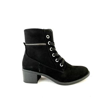 SPROX LDS ZIP TIE ANKLE BOOT - BLACK SUEDE