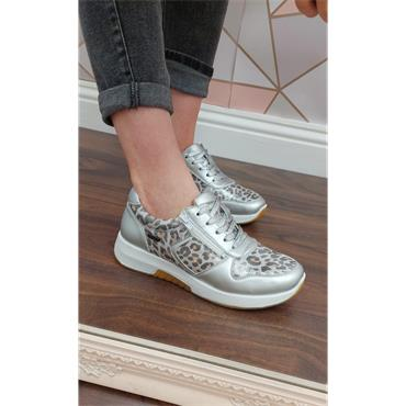 G COMFORT WOMENS ZIP LACE TRAINER - WHITE LEOPARD